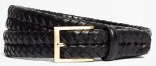 BROOKS BROTHERS Genuine Black Braided Italian Men's Leather Belt SIZE 34 / $178