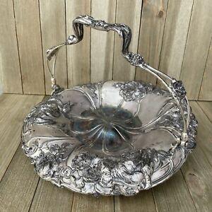 """Vintage Pairpoint Silver Quadruple Plate Brides Basket Bowl Dish Floral 11"""""""