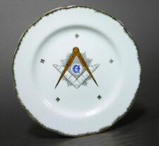 "Mid-Century Masonic Freemason Plate, Compass Square, Lefton China 8 1/4"""