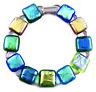 "DICHROIC Link Bracelet Blue Green Gold Metallic Fused Glass Patterned .5"" X 7.5"""