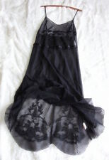 Free People S Embroidered Bodice Dot Mesh Lace Slip Dress Ribbon Trim Curved Hem