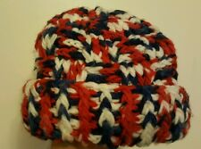 Winter hand crochet Hat  red white and blue with turn up