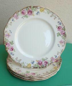 SET OF 4  VINTAGE ROYAL DOULTON ENGLISH ROSE 26.5cm DINNER PLATES ENGLAND D6071