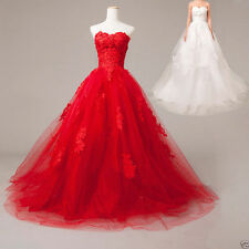 New Custom lace+Tulle Red/White/ivory/black Wedding dress Formal Bridal Gown