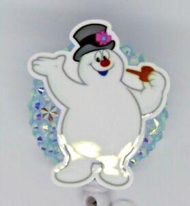 Frosty Snowman Christmas Winter Snowflake Badge Reel ID Holder Nurse Teacher Vet