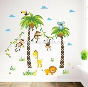 ANIMAL JUNGLE ZOO MONKEY GIRAFFE LION WALL STICKER BABY KIDS ROOM CHILDREN