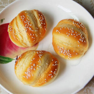 1pc Artificial Simulation Fake Food Kitchen PU Hanamaki Sesame Bread Decor