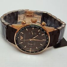 Emporio Armani Tazio Brown Rose Gold Sportivo Mens Chronograph Watch AR5982 AR2