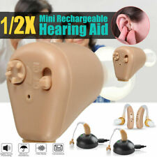 A Pair of Rechargeable Digital Small In Ear Hearing Aids Sound Voice Amplifier