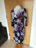 Ladies Dress Size 16 Black Purple Stretch Faux Wrap Smart Casual Day Party