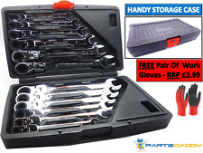12 Piece Flexible Combination Spanners Ratchet Wrench Tool Set 8-19mm (2-5)