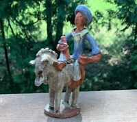 Handcrafted Pottery HAITI DONKEY Statue NATIVE MALE FIGURINE Travel Souvenir