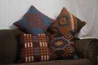 4 Set di Lana Iuta Copriletto Indiano Cuscino Cover Vintage Fatta Kilim Tappeti