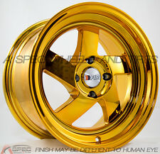 F1R F08 15X8 +25 4X100 GOLD CHROME WHEELS Fits Yaris Mr2 Celica Corolla Tercel