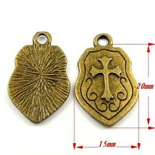 30094 Antiqued Bronze Tone Vintage Templar Knight Cross Shield Pendant Charm45pc