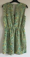 Limited Edition By Atmosphere Sz 10 Ladies Green Dress With Brown & Yellow Print