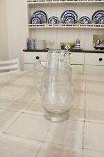 Tall Victorian Fern Engraved Glass Water Jug