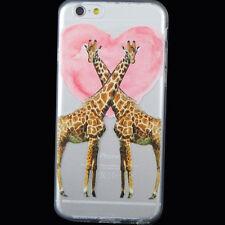 Pellicola+Custodia GIRAFFE IN LOVE cuore per iPhone 6 6S cover TPU flessibile
