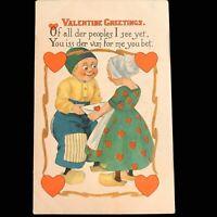 1914 Dutch Valentine Postcard with Green Washington 1 cent stamp