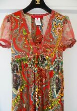 LUXURY!EXQUISITE CHRISTIAN LACROIX RED PRINTED PURE SILK MAXI DRESS NET A PORTER