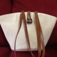 Furla Nylon & Leather Vintage Tote Bag - Bone & Brown
