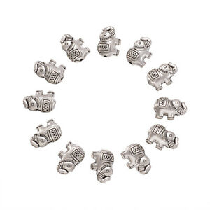 20pcs Antique Silver Tibetan Style Alloy Elephant Beads 8.5x12x4mm Hole 0.8mm
