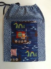 Fabric bag Vikings/ sea print/ blue spot drawstring shoes nappies toys Boy Gift