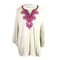 Chico's Women Tunic Too Sz 3 Beaded V Neck Long Sleeve Pink Boho Loose Hobo