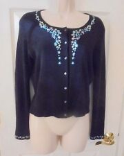 Ann Taylor 100% Silk Black Floral Embroidered Long-sleeved Cardigan Sweater M