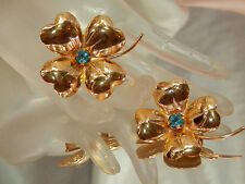 Adorable Vintage 1950's Signed Coro Rhinestone 4 Leaf Clover Brooch Duo  1806o