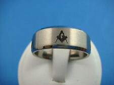 !MASONIC TITANIUM MEN'S WEDDING BAND 8 MM WIDE SIZE 11