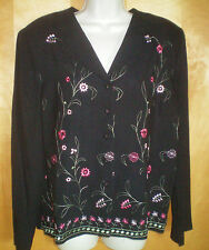 NWT womens ladies size 14 black pink green floral embroidered jacket coat