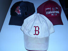 3 Vintage Boston Red Sox Baseball Hats / Caps World Series Champions Authentic