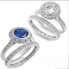 2.50Ct Round Russian Cz Bezel Set two piece Bridal Set Sizes 5-10 Free Shipping!