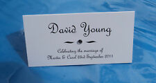 50 Printed Personalised Diamante Crystal Place Cards / Table Card Decorations