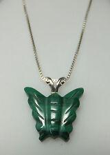 NUEVO Plata de Ley Auténtica Verde Malaquita colgante mariposa con / 45.7cm