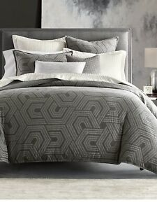 Hotel Collection Textured Hexagon King Comforter Color Grey