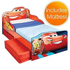 DISNEY CARS LIGHTNING MCQUEEN TODDLER BED WITH STORAGE AND SPRING MATTRESS NEW