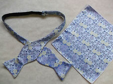 NEW MENS SELF TIE DICKIE BOW BLUE YELLOW LILAC FLORAL BOWTIE & TOP POCKET HANKIE