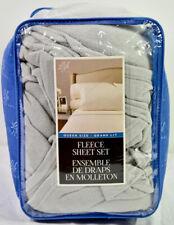 Life Comfort 4 Piece Queen Size Fleece Sheet Set (Light Grey)