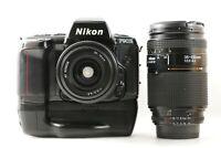 """""""EXC+5 w/ MB-10"""" NIKON F90X Film Camera + AF Nikkor 35-70mm + 35-135mm Lens Kit"""