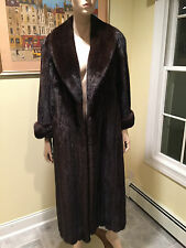 Natural Female Full Length Brown Mink Fur Coat USA Skins Size 10 Large Mahogany