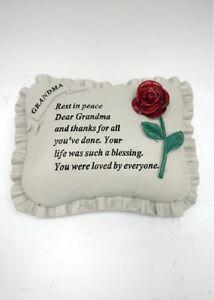 Grandma Red Roses Memorial Ornament Garden Stone Graveside Memorial Plaque