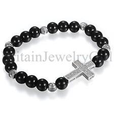 Men Women Sideway Cross Black Silver Beaded Elastic Bracelet Yoga Jewelry