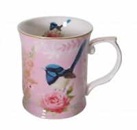 New Fine Bone China Blue Wren Coffee Tea Mug w Handle Cup 415cc-Pink Background
