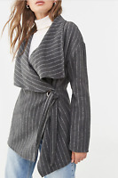 FOREVER 21 Grey Woven Pinstripe Belted Wrap Trench Lapel Jacket Pea Coat Size M