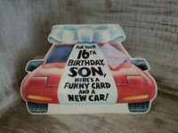Vintage Funny Greeting Card Happy 16th Birthday Son With Delorean Car Future