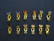 6 pair gold plated color rhinestone clip on earrings, my store has converters to