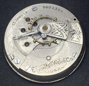 Elgin Grade 218 Pocket Watch Movement 18s 15j Openface Mod 5 Good Balance F5528