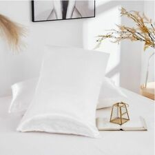 Mulberry Satin Silk Pillowcase Luxurious Queen Size Home Bedding Cover White